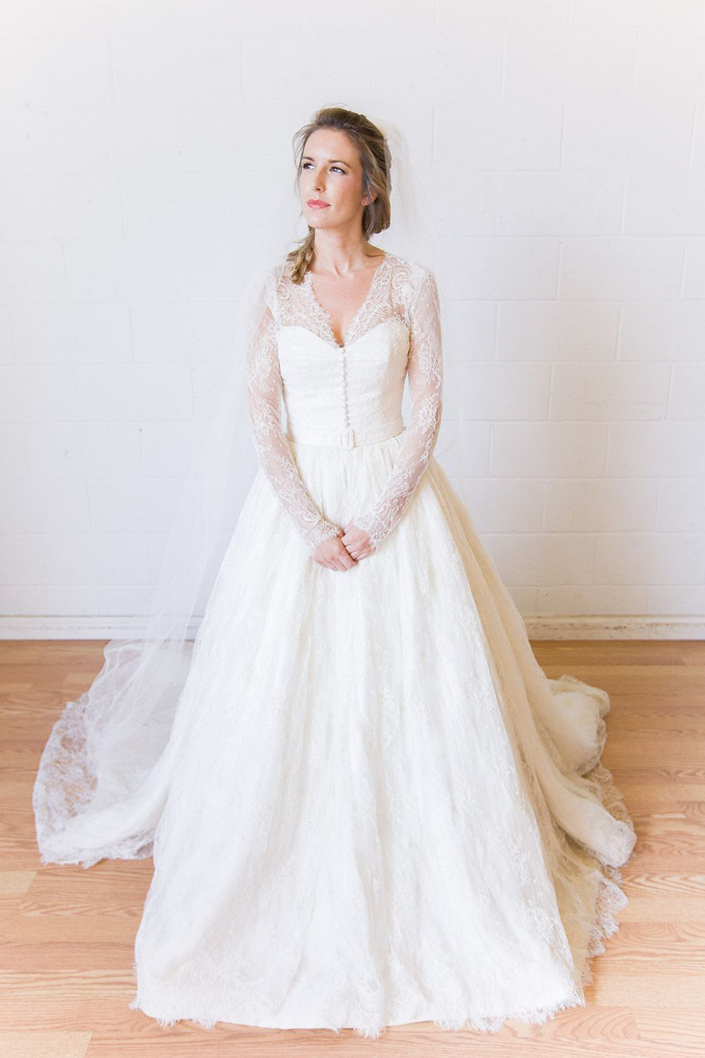 Dennis Basso Lotus Long Sleeved Wedding Dress Rent Long