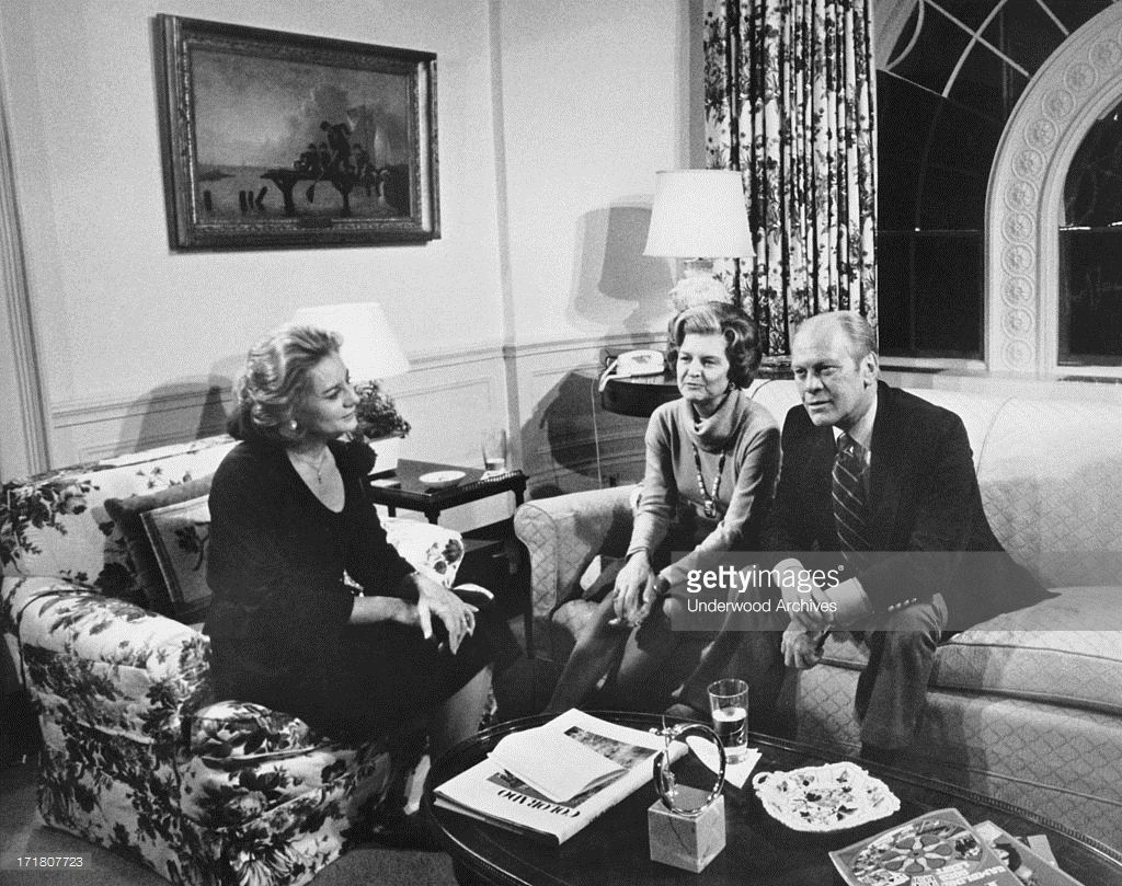 Barbara Walters interviews President and Mrs Gerald Ford at the White House, Washington DC, December 14, 1976.