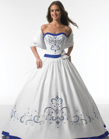 romantic ball gown strapless shawl floor length off white quinceanera gown white and blue wedding