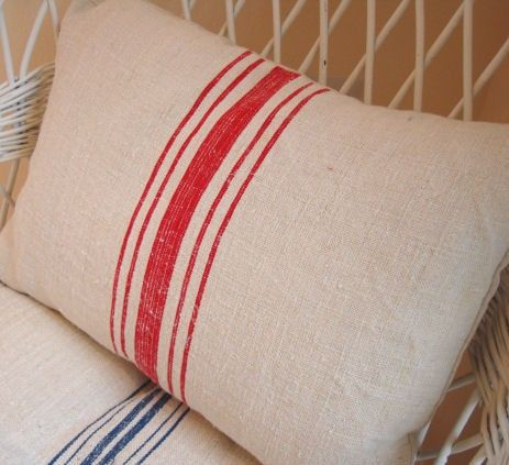 European Vintage GRAIN SACK Cottage Paris Shabby Chic Red Stripe Fascinating 14x18 Pillow Insert