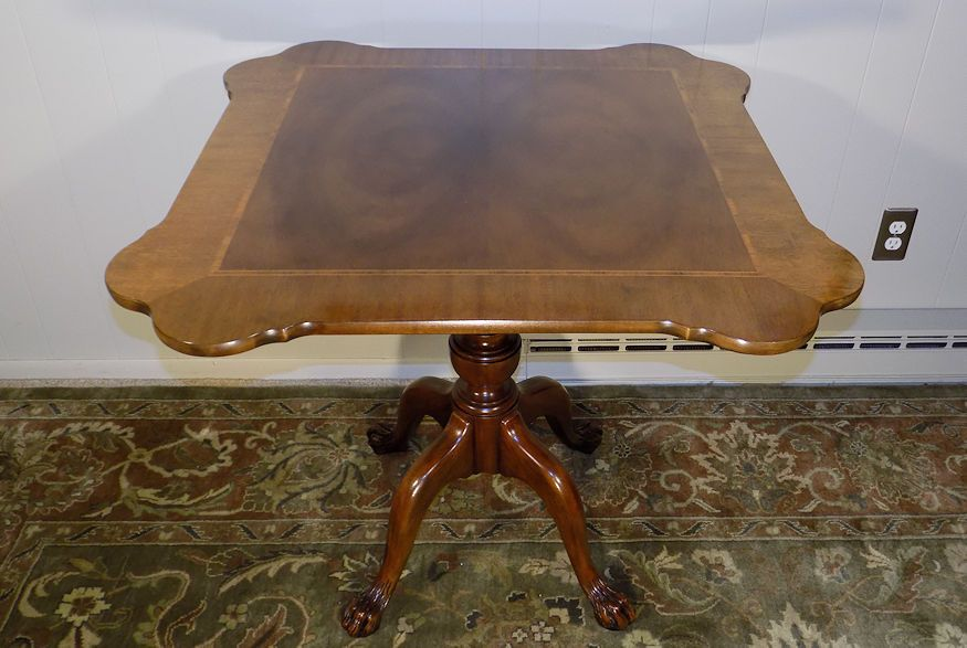 Baker Furniture Banded Veneer Mahogany Chippendale Table Lion Claw