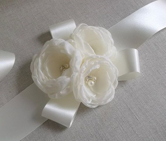 Ivory off white fabric flower bridal dress sash by zweddingsline ivory off white fabric flower bridal dress sash by zweddingsline mightylinksfo
