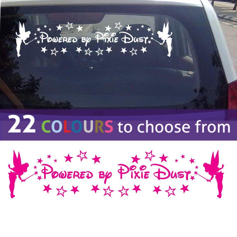 Powered By Pixie Dust Quote Tinkerbell Fairy Wall Sticker Art For Car Mirror Window Bedroom Ba Sticker Wall Art Wall Art Quotes Family Nursery Wall Art Boy [ 1003 x 1000 Pixel ]