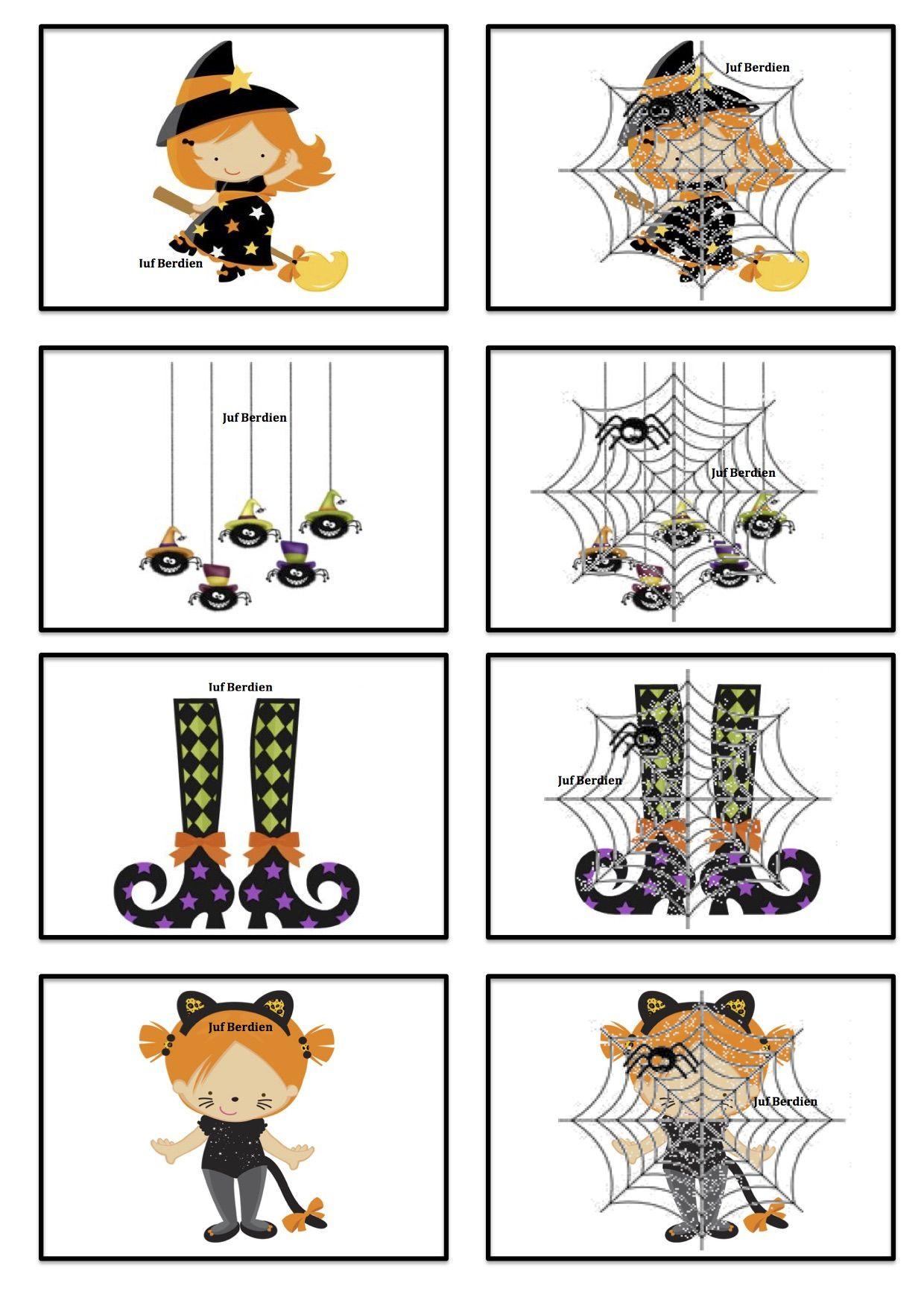Verstop memory 2 Juf Berdien thema Halloween Griezelen ...