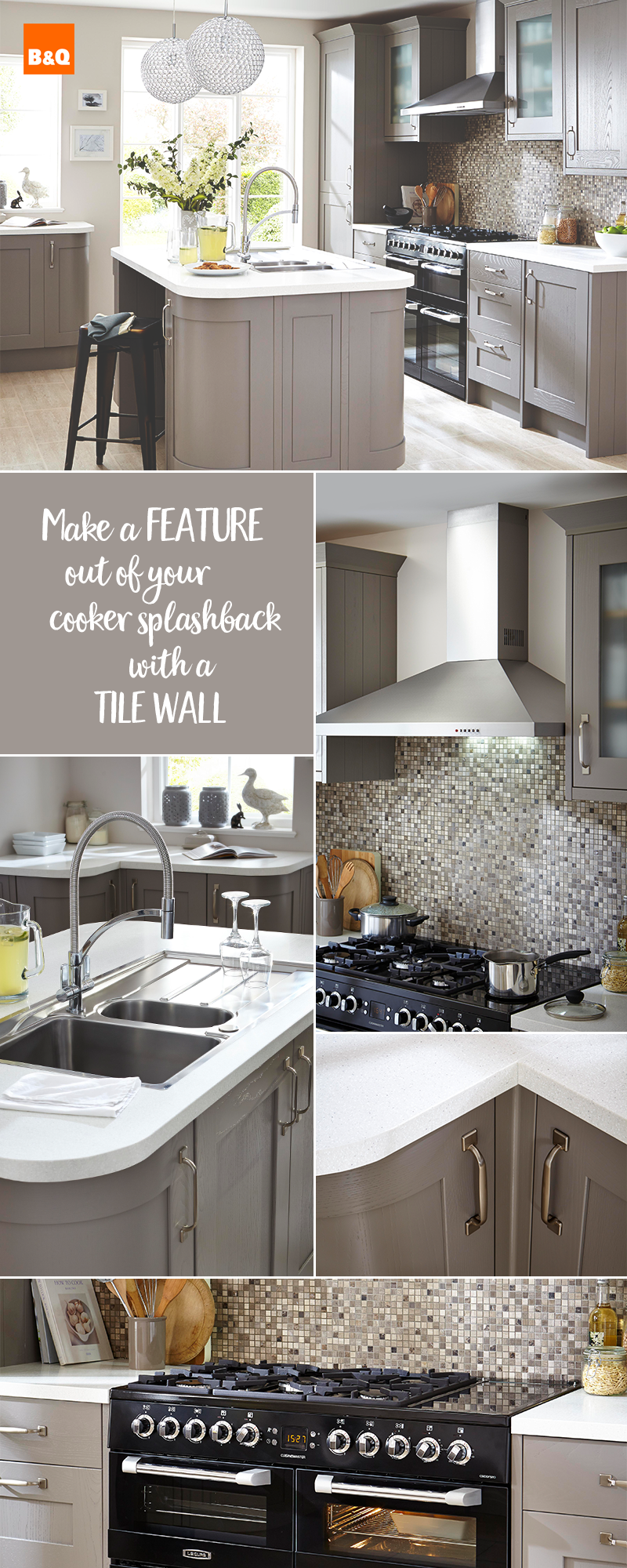 Design your dream kitchen with our Carisbrooke taupe kitchen range