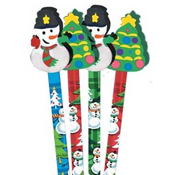 Snowman Pencil Toppers. Colourful pencils with a variety of toppers well secured to the pencil top.  - See more at: http://www.teachersuperstore.com.au/product/christmas/snowman-pencil-toppers/#sthash.pKAA2i3R.dpuf