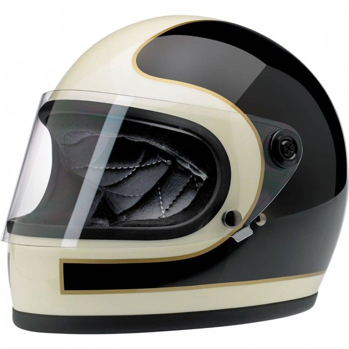 BILTWELL Gringo S Full Face Helmet Tracker Gloss Black White