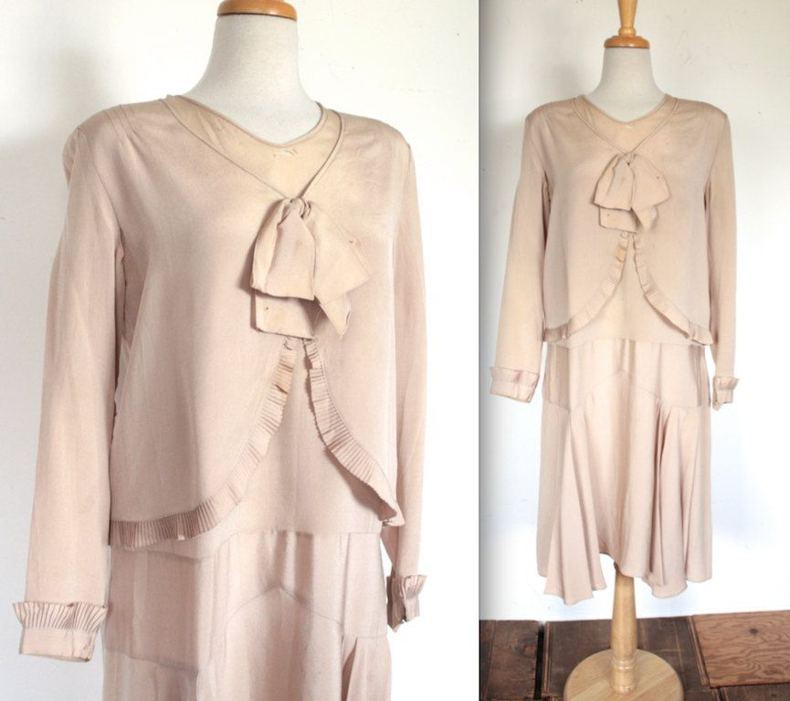 Vintage 1920s Dress // 20s Nude Silk Flapper Day Dress with Bow // Summer Bride // DIVINE by TrueValueVintage on Etsy