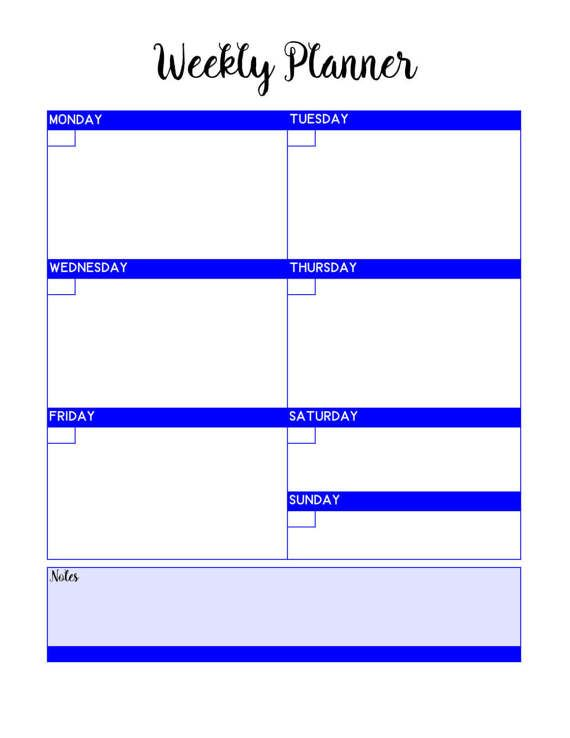 6 Bold Bright PRINTABLE Weekly Blank Planner Pages / Planning #mambi - Agenda Planner Template