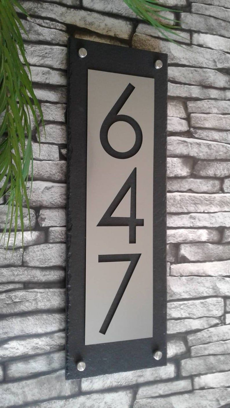 Modern Address Plaque House Numbers Vertical Etsy House