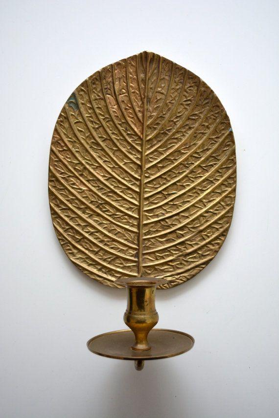 Vintage Brass Leaf Sconce Candle Holder India on Etsy, $17 ...