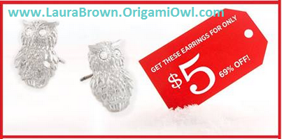 Origami Owl, Owl Earrings - Black Friday at www.LauraBrown.OrigamiOwl.com 12:00 AM (EST) to 11:59 PM (EST)