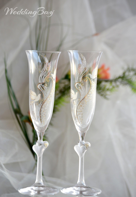 Hand painted wedding toasting flutes wedding glasses
