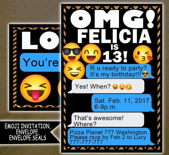 Emoji Birthday Party Invitation Perfect For Any Includes Personalized Envelope Seals