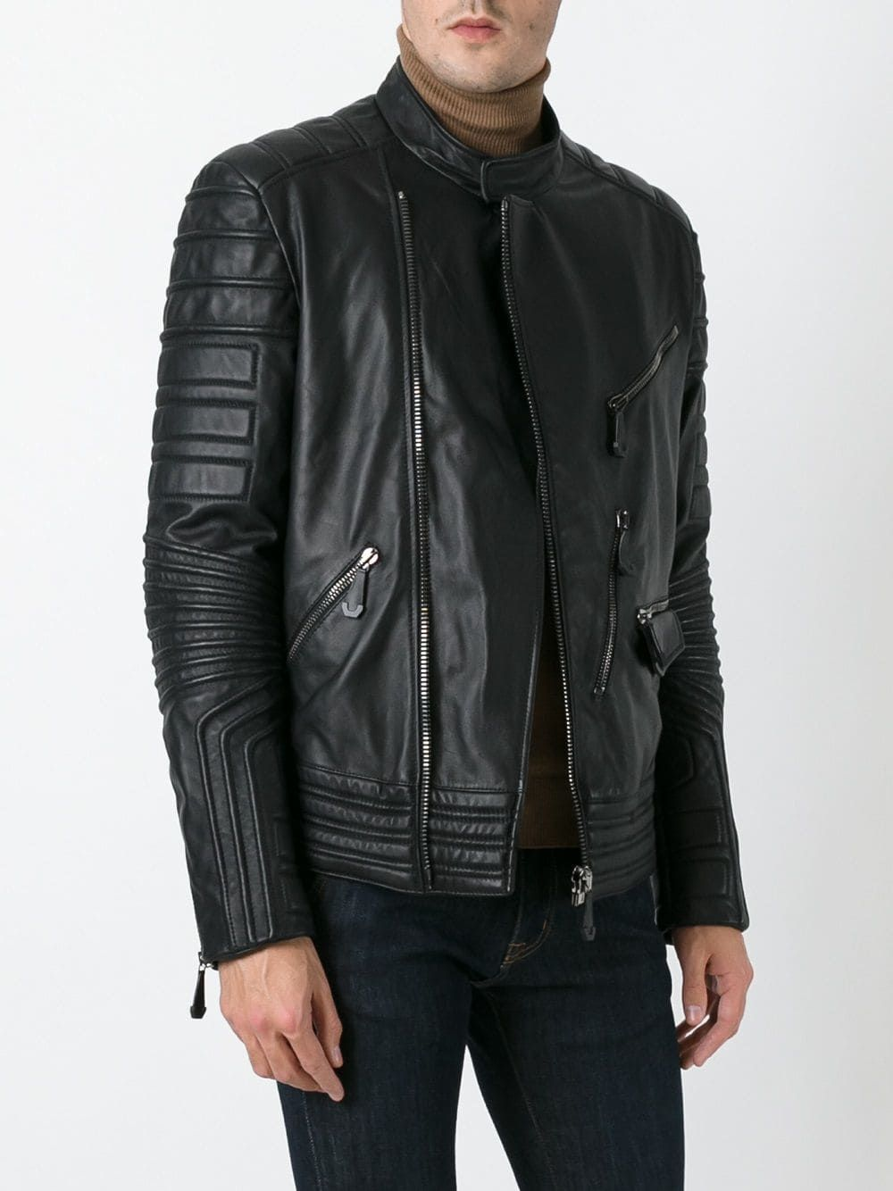 Philipp Plein Ribbed Panel Biker Jacket Mens Leather Bomber Jacket Biker Jacket Leather Bomber Jacket [ 1334 x 1000 Pixel ]