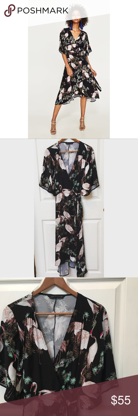 001510ec Zara Crane Print Midi Wrap Dress Stunning midi wrap dress from Zara. Great  condition, lovely pattern and kimono style sleeves. This is a reposh, ...