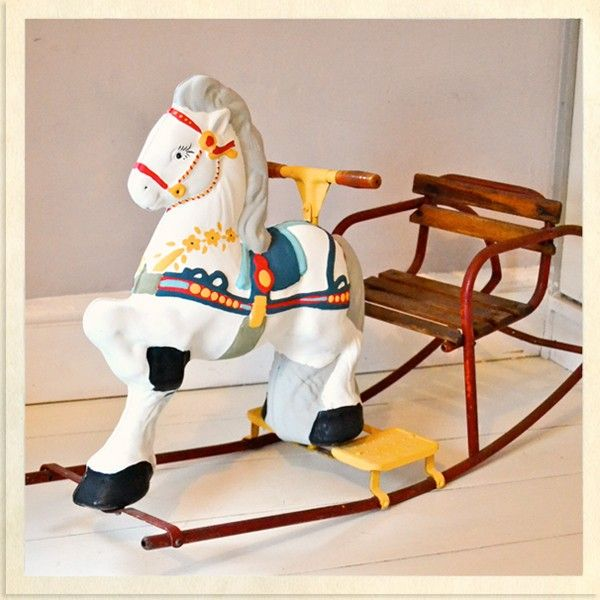 Vintage Children's Hand-Painted Rocking Horse & Chair by Utoto. Available at Belle and Boo Bootique