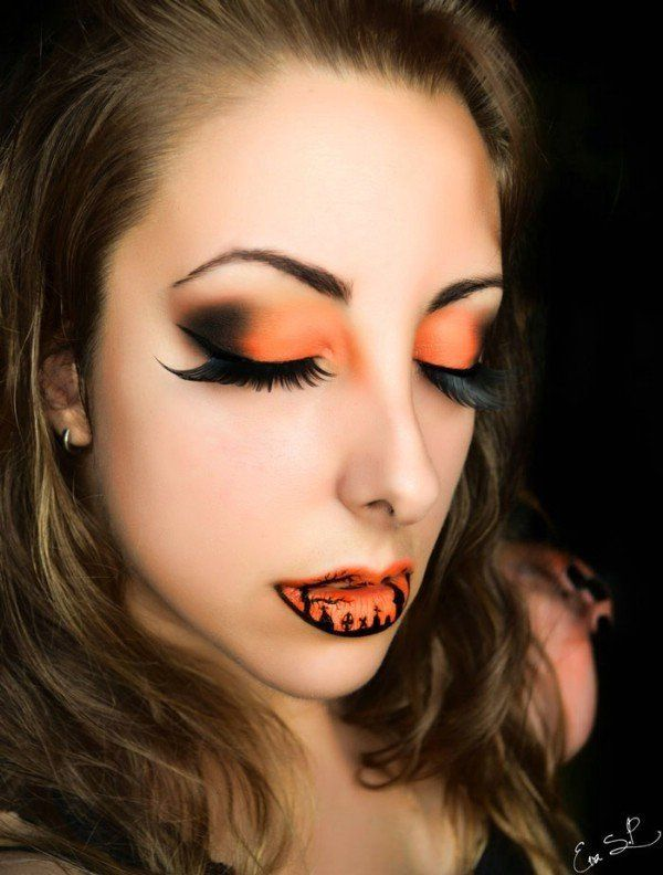 simple halloween makeup ideas lip art smoky eyes artifivial eye lashes - Make Your Own Halloween Makeup