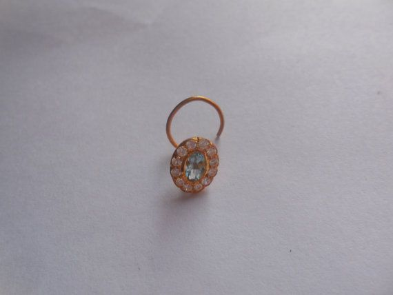 Nose Stud Pin Gold 20k Gemstone Piercing Ring Aquamarine Natural