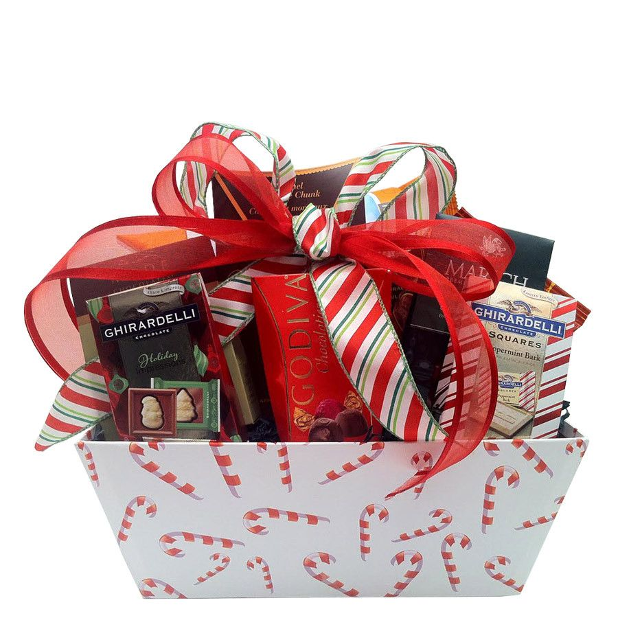 Holiday Candy Cane Christmas Gift Basket Holiday gift