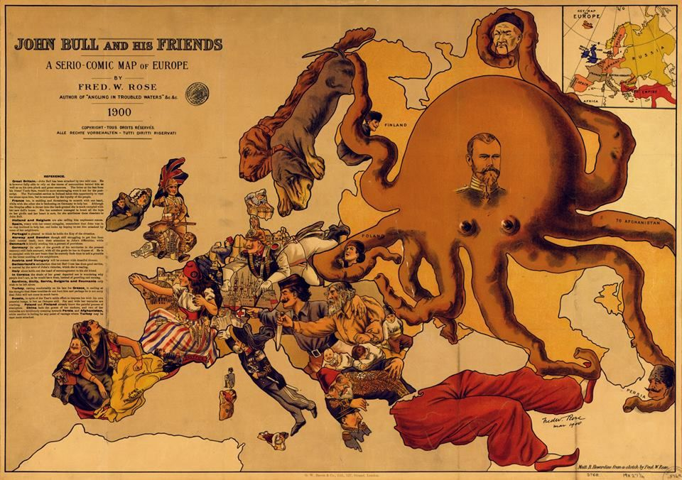 Europe Comic Map On 1900 By Fred Rose World War I 1914 1918