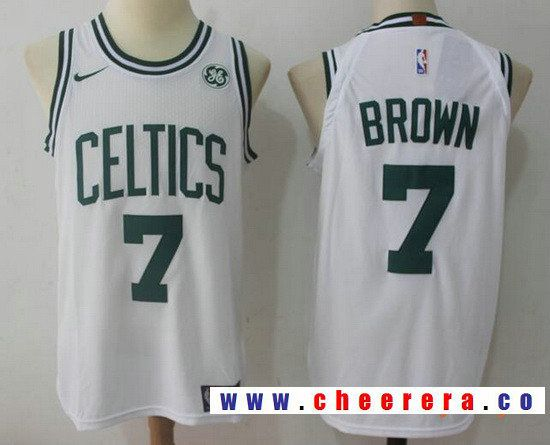 4641d92e903 Men s Boston Celtics  7 Jaylen Brown White 2017-2018 Nike Swingman General  Electric Stitched NBA Jersey