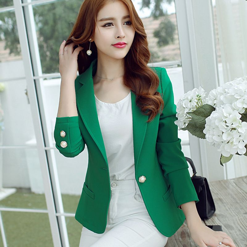 Green Yellow Black) 2016 Women Blazers And Jackets New Long ...