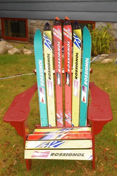 Bon Muskoka Chair Made From Old Skiis Deck Chairs, Adirondack Chairs, Wood  Benches, Diy