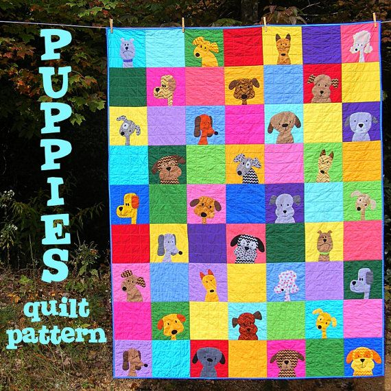 Puppy Dog Quilt Applique Pattern PDF