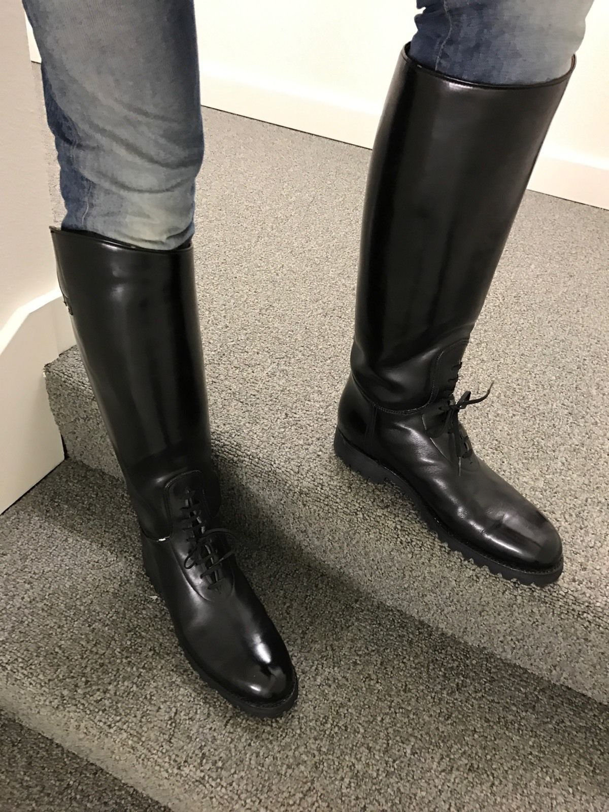 Dehner Shop Dehner Motorcycle High Shine Patrol Bal Laced Cop Boots Used