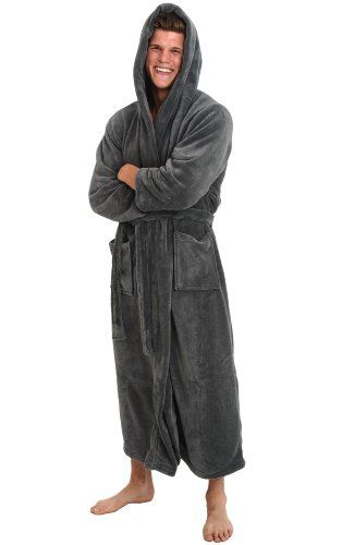 Del Rossa Men s Fleece Full Length Hooded Bathrobe Robe de01c2c04