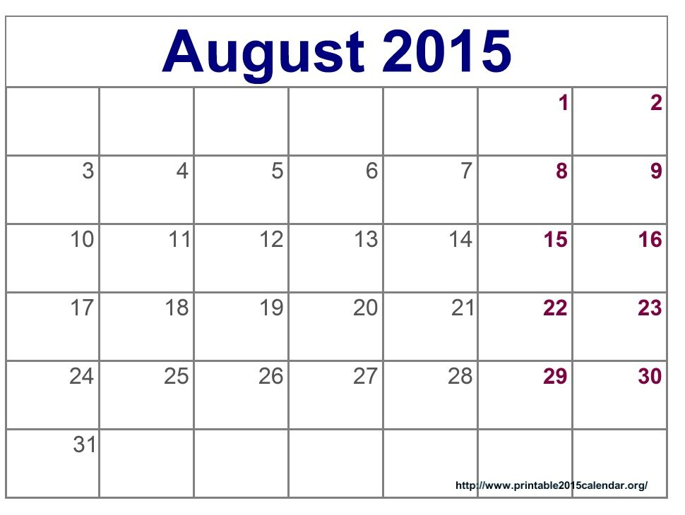 Time and Date August 2015 Calendar Full Templates for You ...