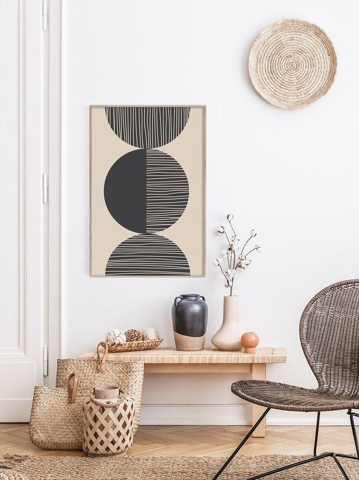 Beige Black Geometric Art Print Black Abstract Art Print | Etsy