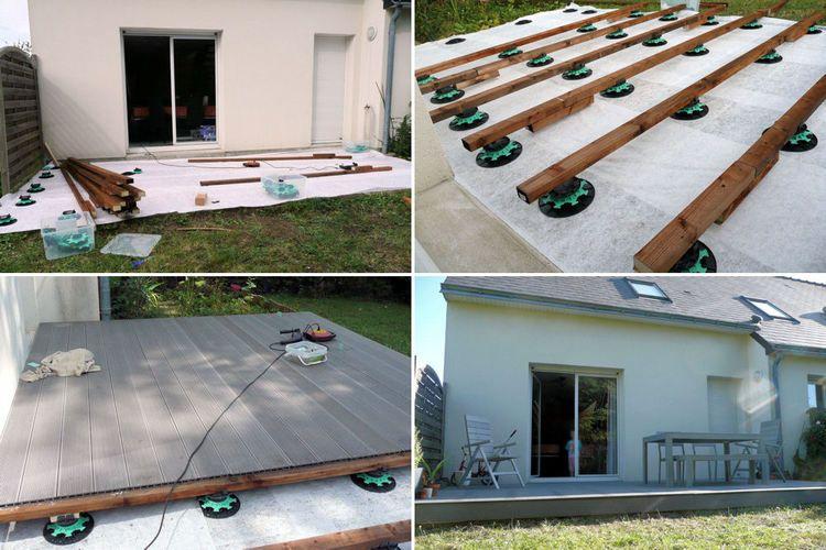 suivez la construction d 39 une terrasse en bois composite diy. Black Bedroom Furniture Sets. Home Design Ideas