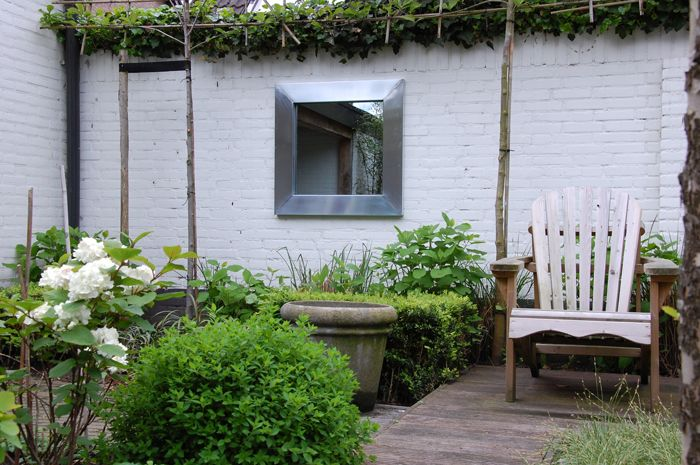Witte muur tuin google zoeken tuin dakterras pinterest - Veranda met stenen muur ...