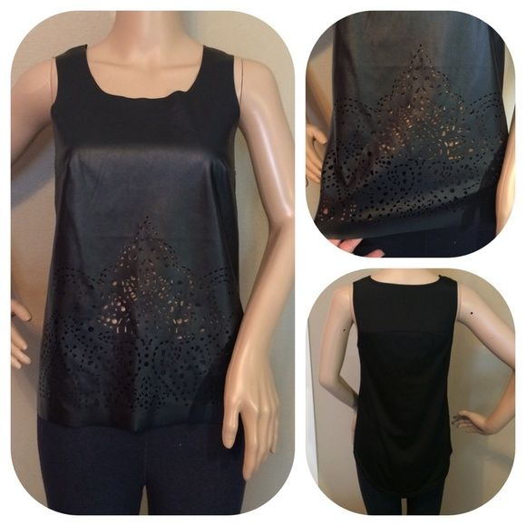 ❗️❗️NWOT Black faux leather laser cut high low top Sexy black faux leather front laser cut high low top. Size Small but probably better for XS with a small bust. Fun & Flirt Tops