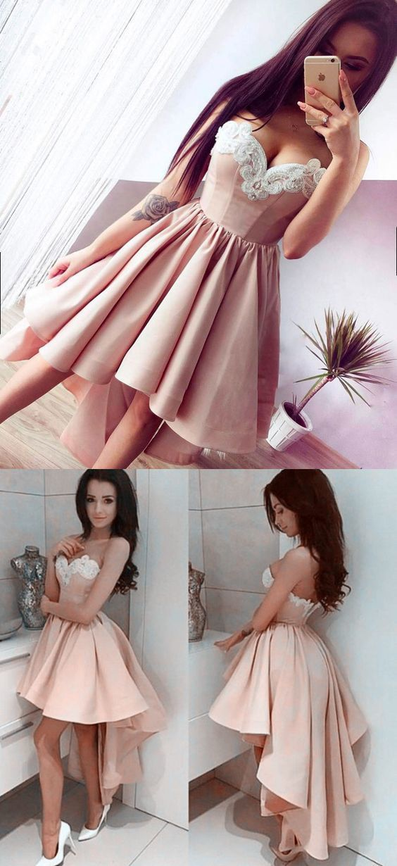 65aaba322cc High Low Sweetheart Sleeveless Champagne Satin Homecoming Dress with  Appliques