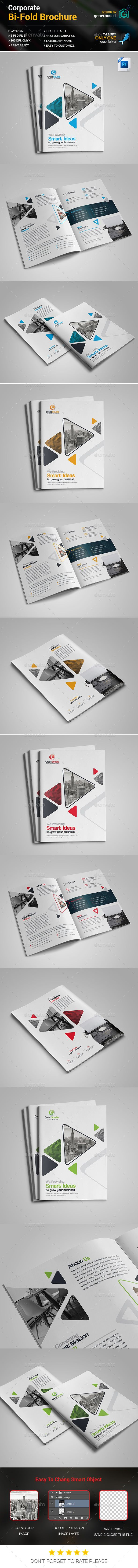 Business Bi-Fold Brochure Template PSD