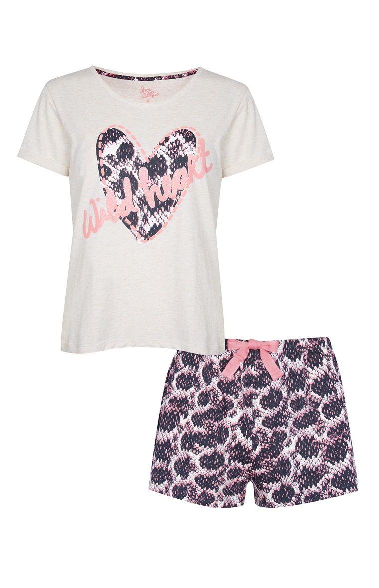 Primark - Ensemble pyjama short Wild Heart rose  c668332a16e