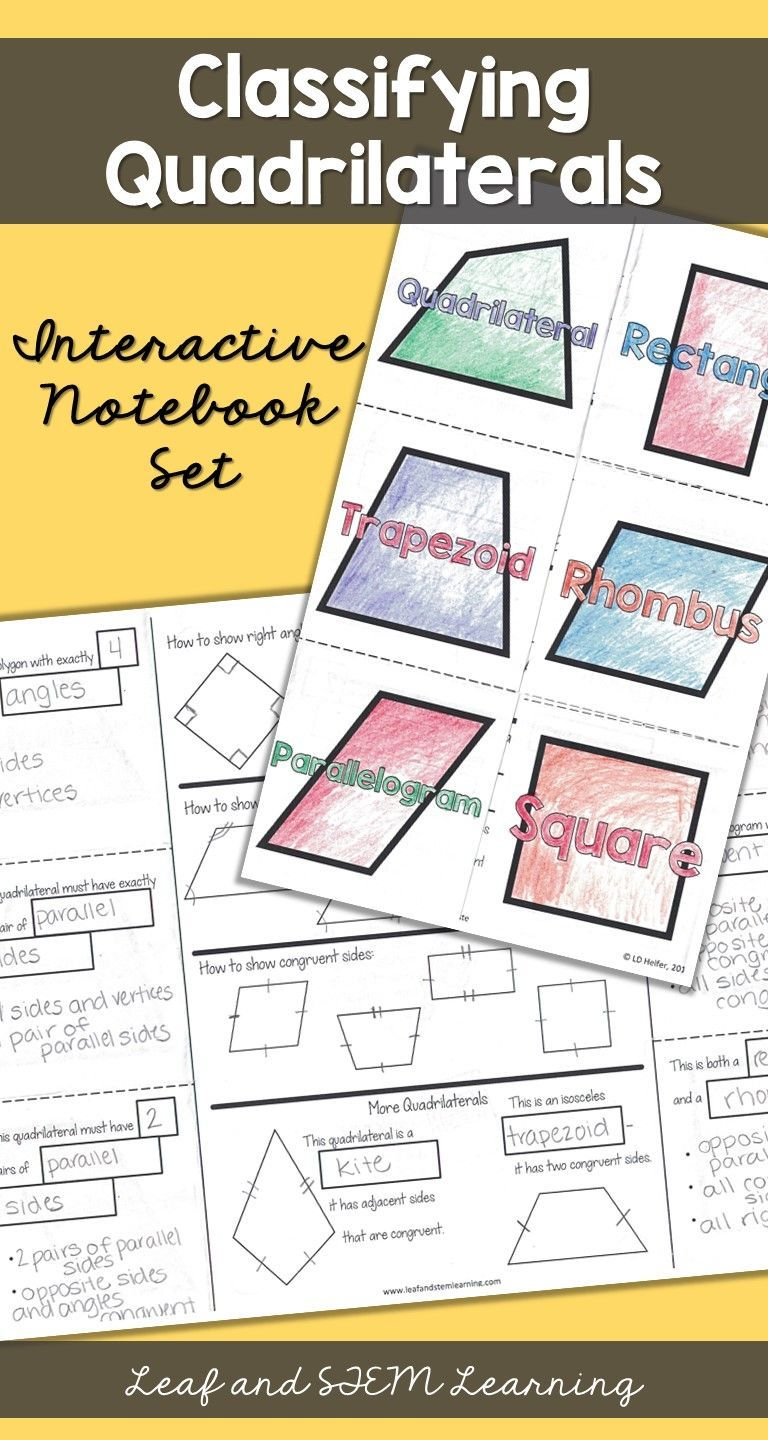 Classifying Quadrilaterals Interactive Notebook Materials 5th Grade Math Geometry Teks And Interactive Notebooks Interactive Math Journals Quadrilaterals