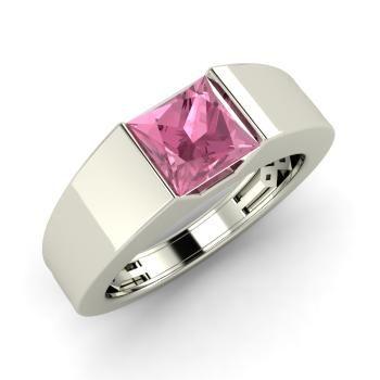Princess-Cut Pink Tourmaline  Men's Ring in 14k White Gold