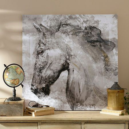 Product Details Black And White Horse Canvas Art Print Equestrian