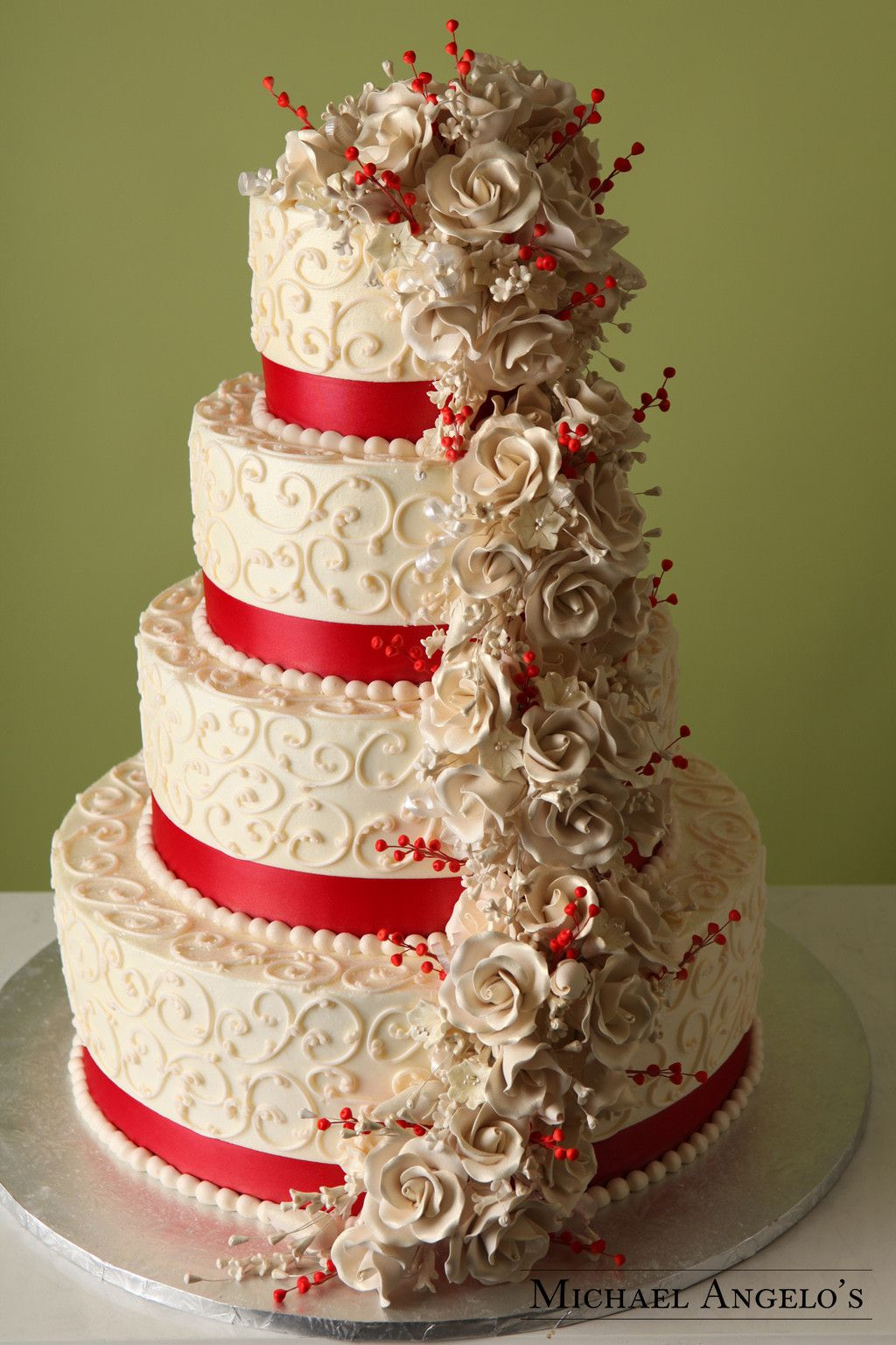 red ribbon wedding cakes scarlet amp ivory 19floral berries gum paste and berries 19143