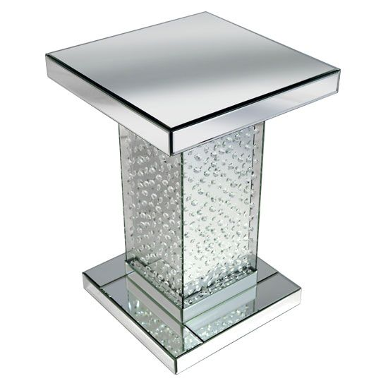 Rosalie Pedestal Side Table In Silver With Glass And Crystals
