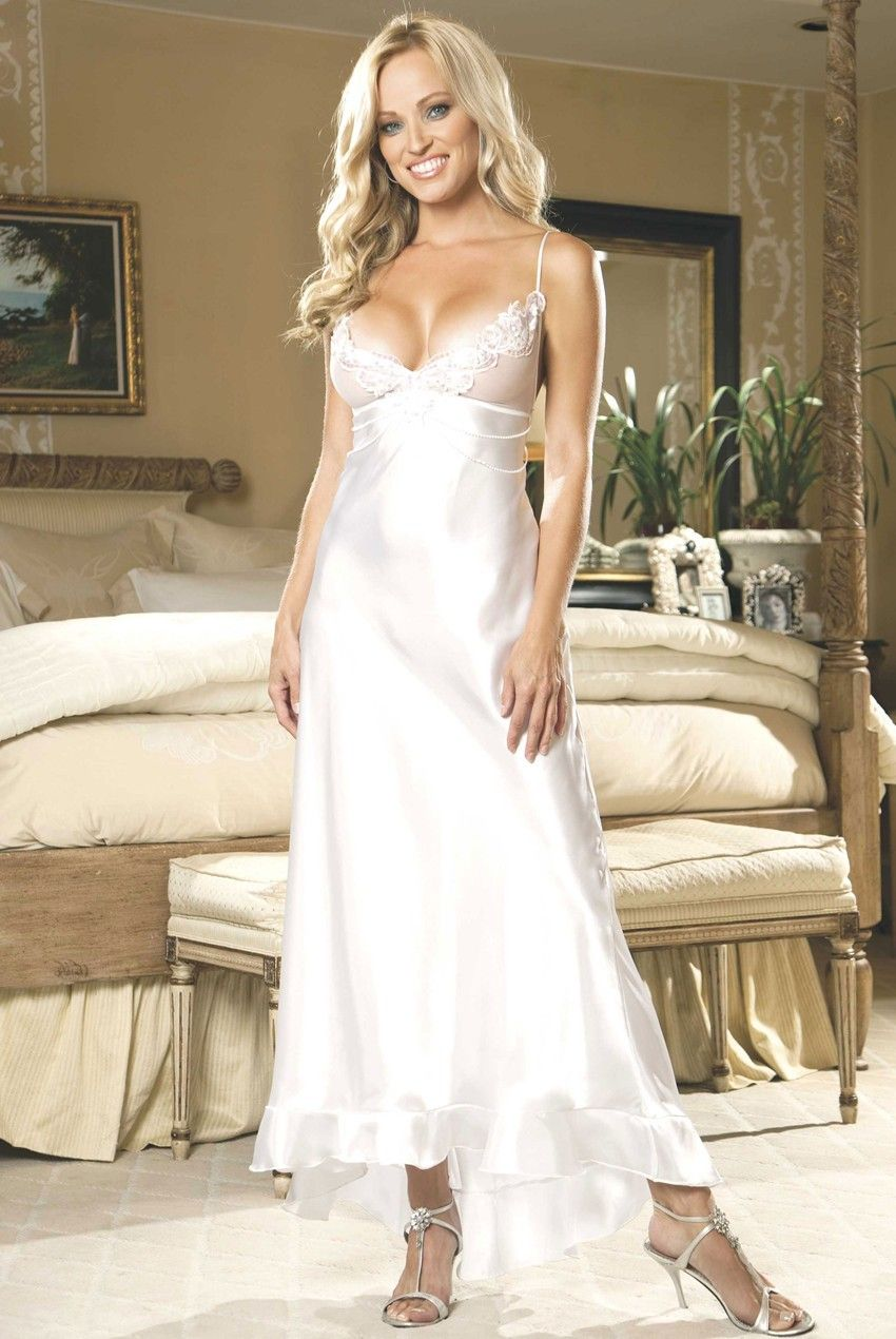 Charmeuse and net long gown bridal lingerie pinterest gowns