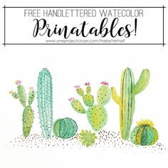 graphic relating to Cactus Printable titled No cost Watercolor Cactus Printable Free of charge Printables
