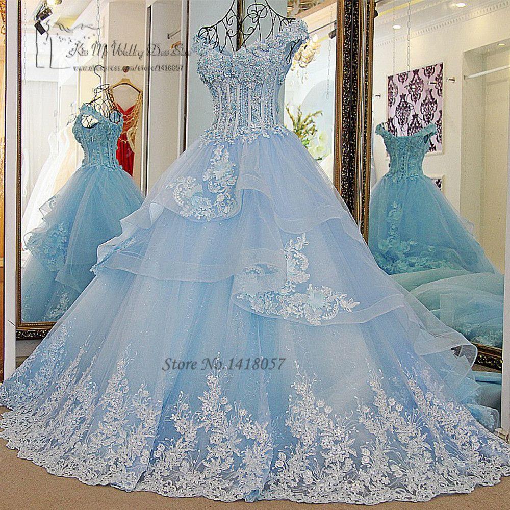 Pas cher robe de noiva princesa luxo vintage bleu clair robes de