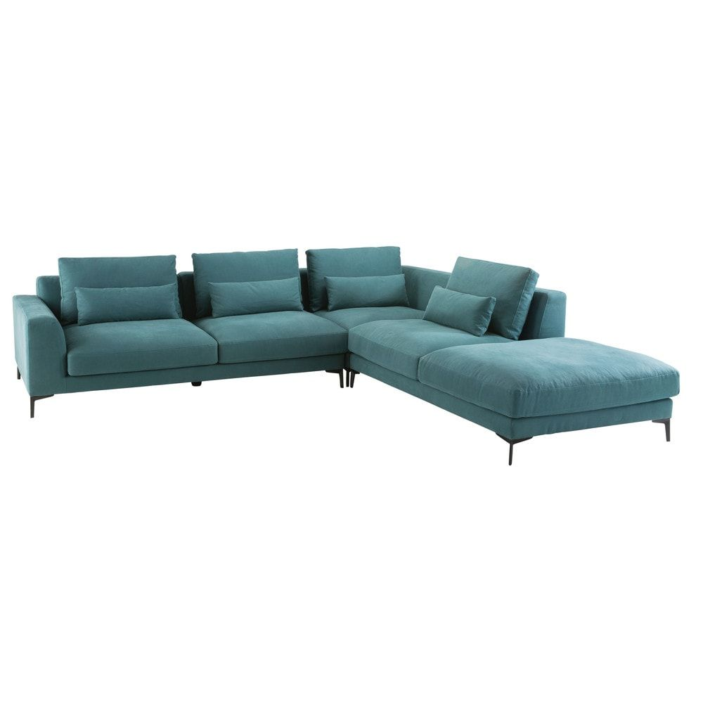 canapé d'angle droit 6 places en coton et lin bleu canard | idées