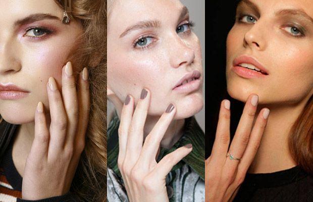Desenhos de unhas artisticas para noivas - Há várias nuances nude no mercado. Opte pelas mais claras para um look delicado ou pelas mais escuras para um destaque maior.