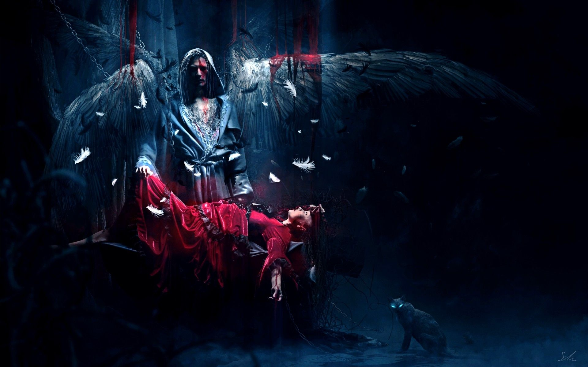 Dark Horror Fantasy Gothic Angels Mood Women Blood Sad Sorrow
